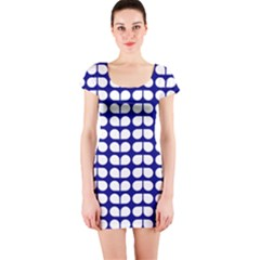 Blue And White Leaf Pattern Short Sleeve Bodycon Dress