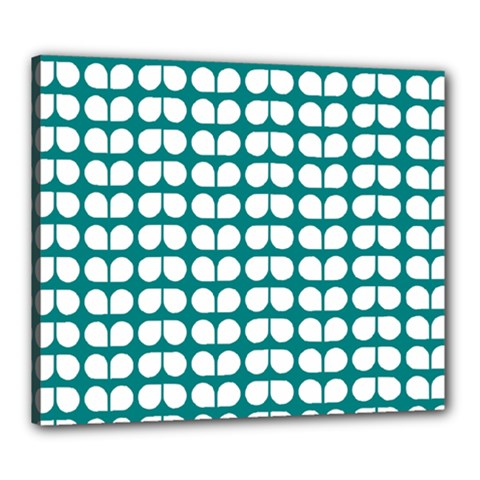 Teal And White Leaf Pattern Canvas 24  X 20  (framed)
