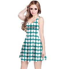 Teal And White Leaf Pattern Sleeveless Dress