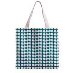 Teal And White Leaf Pattern Grocery Tote Bag