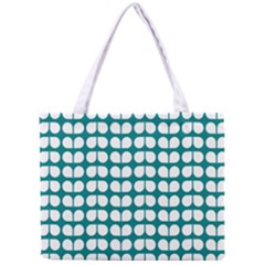 Teal And White Leaf Pattern Tiny Tote Bag