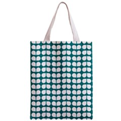 Teal And White Leaf Pattern Classic Tote Bag