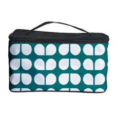 Teal And White Leaf Pattern Cosmetic Storage Case