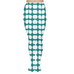 Teal And White Leaf Pattern Tights