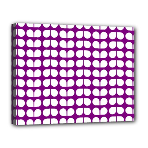 Purple And White Leaf Pattern Canvas 14  X 11  (framed)