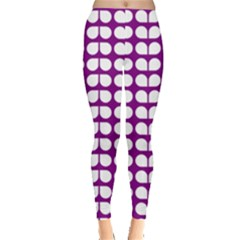 Purple And White Leaf Pattern Leggings