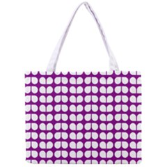 Purple And White Leaf Pattern Tiny Tote Bag