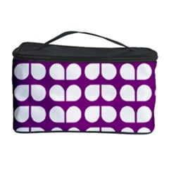 Purple And White Leaf Pattern Cosmetic Storage Case