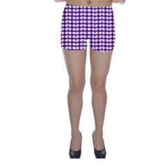Purple And White Leaf Pattern Skinny Shorts