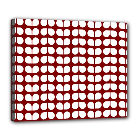 Red And White Leaf Pattern Deluxe Canvas 24  x 20  (Framed)