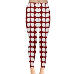Red And White Leaf Pattern Leggings