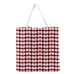 Red And White Leaf Pattern Grocery Tote Bag