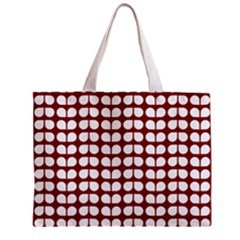 Red And White Leaf Pattern Tiny Tote Bag