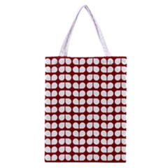 Red And White Leaf Pattern Classic Tote Bag