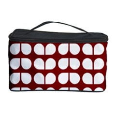 Red And White Leaf Pattern Cosmetic Storage Case