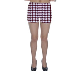 Red And White Leaf Pattern Skinny Shorts