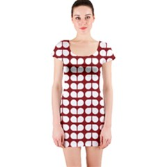 Red And White Leaf Pattern Short Sleeve Bodycon Dress