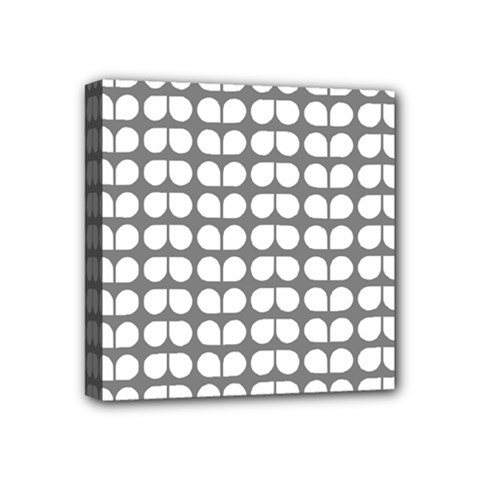 Gray And White Leaf Pattern Mini Canvas 4  X 4  (framed)