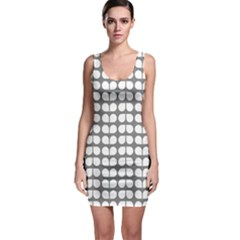 Gray And White Leaf Pattern Bodycon Dress