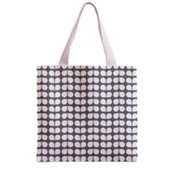 Gray And White Leaf Pattern Grocery Tote Bag