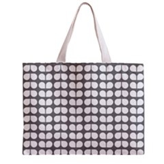 Gray And White Leaf Pattern Tiny Tote Bag