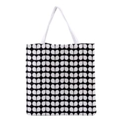 Black And White Leaf Pattern Grocery Tote Bag