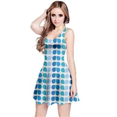 Blue Green Leaf Pattern Sleeveless Dress