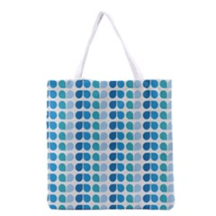 Blue Green Leaf Pattern Grocery Tote Bag