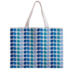 Blue Green Leaf Pattern Tiny Tote Bag