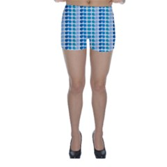 Blue Green Leaf Pattern Skinny Shorts