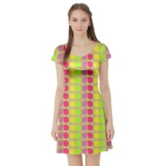 Colorful Leaf Pattern Short Sleeve Skater Dress