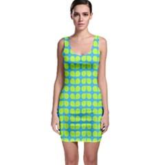 Blue Lime Leaf Pattern Bodycon Dress