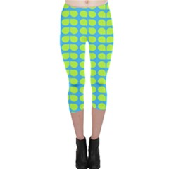 Blue Lime Leaf Pattern Capri Leggings