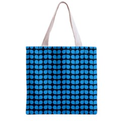 Blue Gray Leaf Pattern Grocery Tote Bag