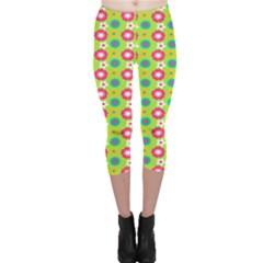 Cute Floral Pattern Capri Leggings