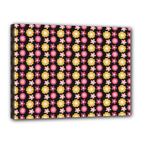 Cute Floral Pattern Canvas 16  X 12  (framed)