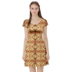 Faux Animal Print Pattern Short Sleeve Skater Dress
