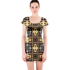 Faux Animal Print Pattern Short Sleeve Bodycon Dress