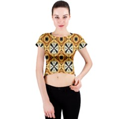 Faux Animal Print Pattern Crew Neck Crop Top