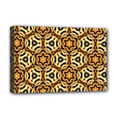 Faux Animal Print Pattern Deluxe Canvas 18  X 12  (framed)