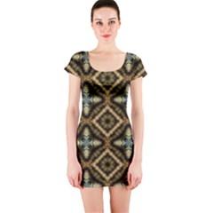 Faux Animal Print Pattern Short Sleeve Bodycon Dress