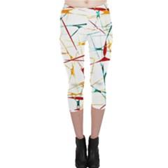 Colorful Splatter Print Capri Leggings