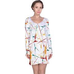 Colorful Splatter Print Long Sleeve Nightdress