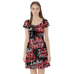 I am the Party Text Quote Short Sleeve Skater Dress