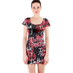 I am the Party Text Quote Short Sleeve Bodycon Dress