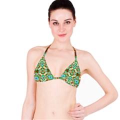 Colorful Modern Pattern Collage Bikini Top