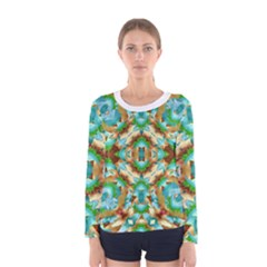 Colorful Modern Pattern Collage Long Sleeve T Shirt (women)