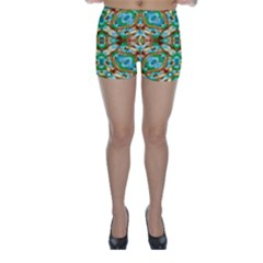 Colorful Modern Pattern Collage Skinny Shorts