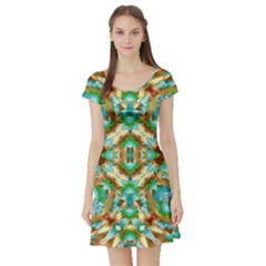 Colorful Modern Pattern Collage Short Sleeve Skater Dress