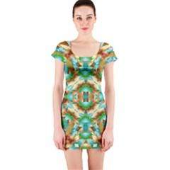 Colorful Modern Pattern Collage Short Sleeve Bodycon Dress